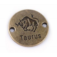 23mm Zodiac Sign Round Link, Taurus, Antique Brass, 1 Piece