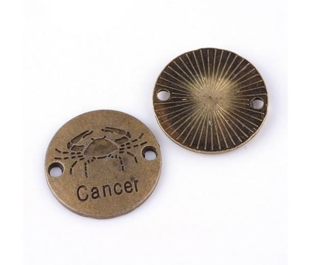 23mm Zodiac Sign Round Link, Cancer, Antique Brass, 1 Piece