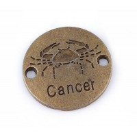 23mm Zodiac Sign Round Link, Cancer, Antique Brass, 1 Piece