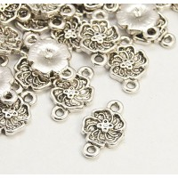 12x16mm Flower Links, Antique Silver..