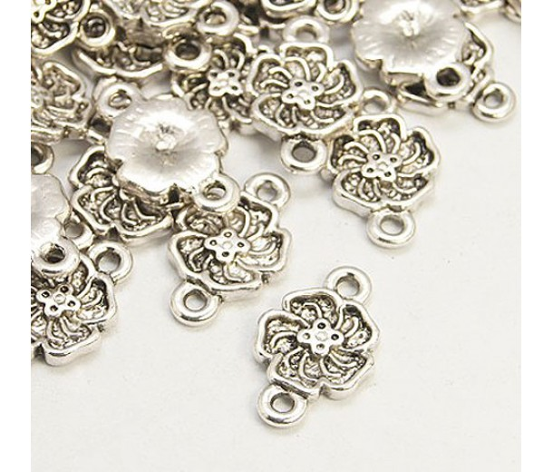 12x16mm Flower Links, Antique Silver, Pack of 10
