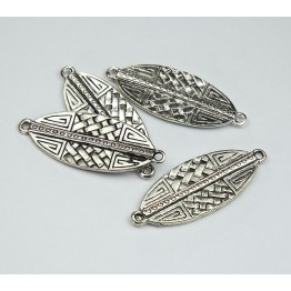 40x15mm Textured Leaf Links, Antique Silver