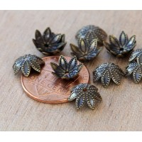 9mm Beaded Flower Bead Caps, Antique Brass