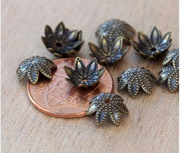 9mm Beaded Flower Bead Caps, Antique Brass, Pack of 20