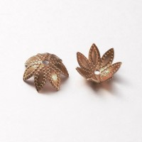 9mm Beaded Flower Bead Caps, Antique Copper, Pack of 20