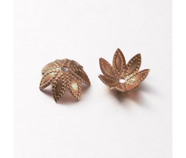 9mm Beaded Flower Bead Caps, Antique Copper, Pack of 20