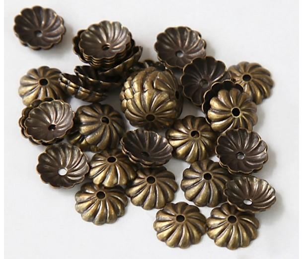 7mm Flat Swirl Bead Caps, Antique Brass