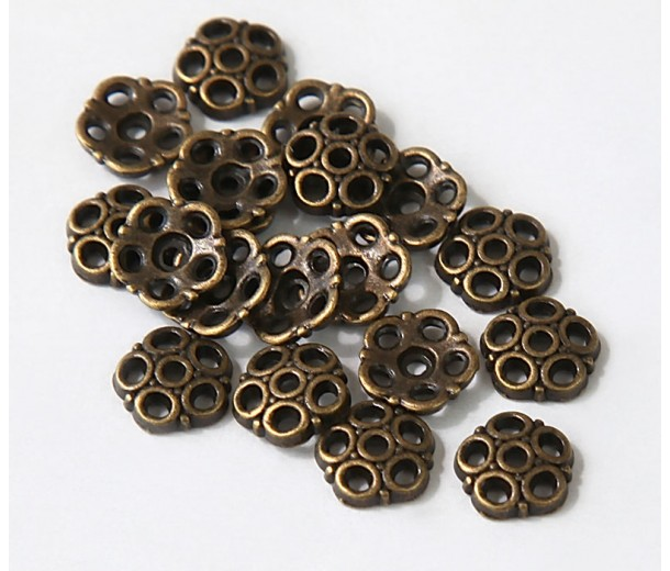 8mm Circles Bead Caps, Antique Brass