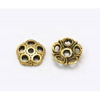 8mm Circles Bead Caps, Antique Gold