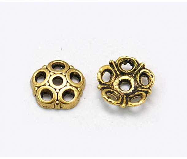 8mm Circles Bead Caps, Antique Gold, Pack of 40