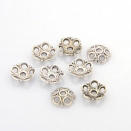 8mm Circles Bead Caps, Antique Silver