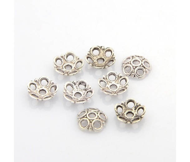 8mm Circles Bead Caps, Antique Silver, Pack of 40