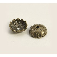 7mm Studded Round Bead Caps, Antique Brass, Pack of 50