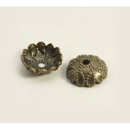7mm Studded Round Bead Caps, Antique Brass