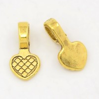 16mm Heart Glue-On Flat Pad Bails, Antique Gold, Pack of 10