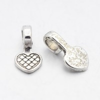 16mm Heart Glue-On Flat Pad Bails, Antique Silver
