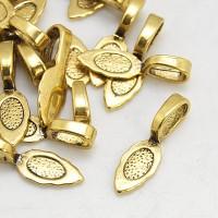 26mm Leaf Flat Pad Glue-On Bails, Antique Gold