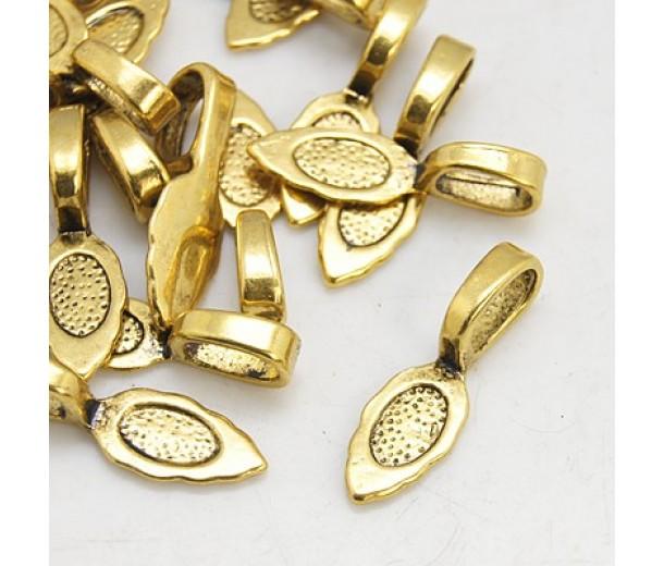 26mm Leaf Flat Pad Glue-On Bails, Antique Gold, Pack of 10