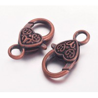 25x14mm Heart Lobster Clasps, Antique Copper
