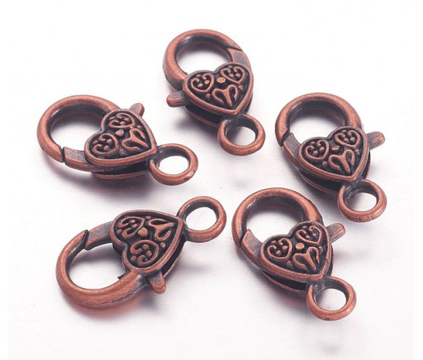 25x14mm Heart Lobster Clasps, Antique Copper, Pack of 10