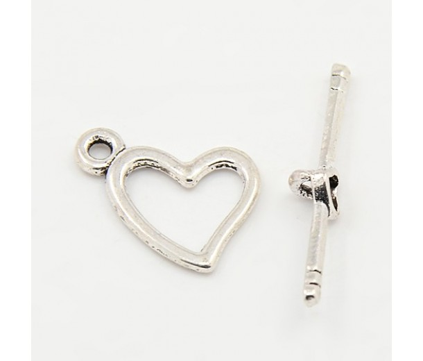 14x18mm Heart Toggle Clasp, Antique Silver