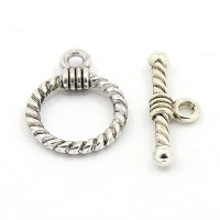14x19mm Rope Design Toggle Clasp, Antique Silver, 1 Set