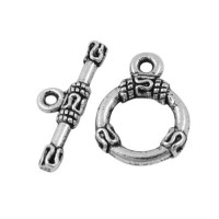 13x18mm Small Round Bali Toggle Clasp, Antique Silver, 1 Set