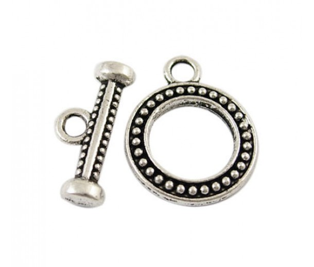 15x18mm Studded Round Toggle Clasp, Antique Silver