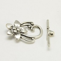 29x20mm Floral Toggle Clasp, Antique Silver, 1 Set