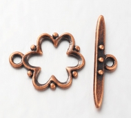 15x19mm Beaded Flower Toggle Clasp, Antique Copper