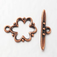 15x19mm Beaded Flower Toggle Clasp, Antique Copper, 1 Set