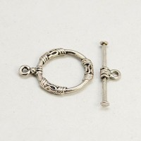 18x22mm Medium Round Bali Toggle Clasp, Antique Silver, 1 Set
