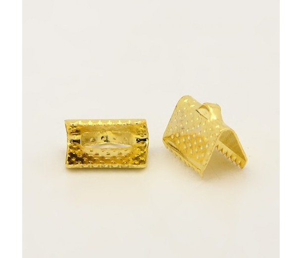 10x7mm Textured Ribbon Ends, Gold Tone