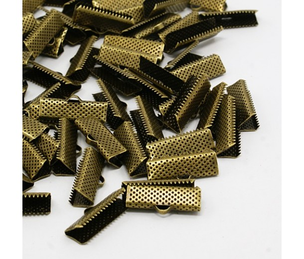 20x8mm Textured Ribbon Ends, Antique Brass, Pack of 10