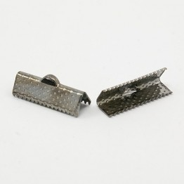 20x8mm Textured Ribbon Ends, Gunmetal