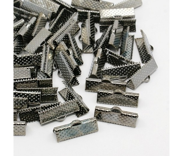 20x8mm Textured Ribbon Ends, Gunmetal, Pack of 10