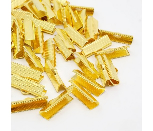 20x8mm Textured Ribbon Ends, Gold Tone, Pack of 10