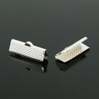 20x8mm Textured Ribbon Ends, Silver Tone, Pack of 10