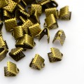 8x6mm Textured Ribbon Ends, Antique Brass, Pack of 20