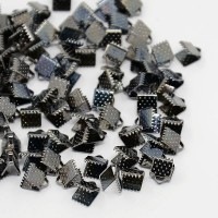 8x6mm Textured Ribbon Ends, Gunmetal