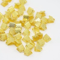 8x6mm Textured Ribbon Ends, Gold Tone