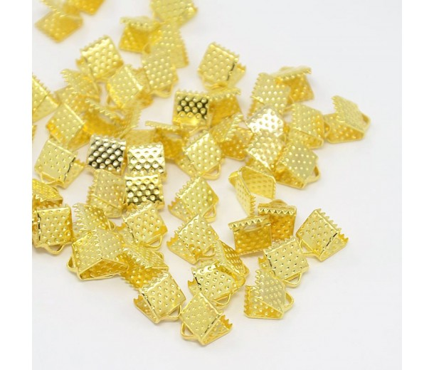 8x6mm Textured Ribbon Ends, Gold Tone, Pack of 20