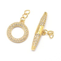 14x16mm Micro Pave Zirconia Toggle Clasp, Gold Tone, 1 Set
