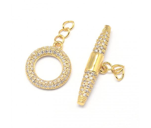 14x16mm Micro Pave Zirconia Toggle Clasp, Gold Tone