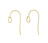 21mm Fish Hook Ear Wires, Gold Plated
