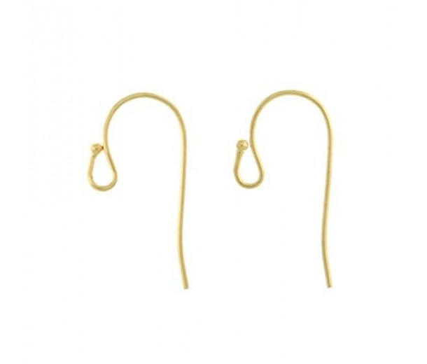21mm Fish Hook Ear Wires, Gold Plated, Pack of 20