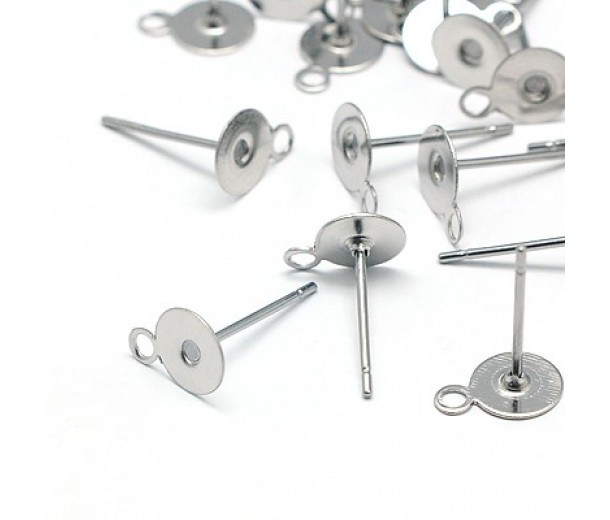 6mm Stainless Steel Earstud Blank with Loop