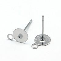 6mm Stainless Steel Earstud Blanks with Loop, Pack of 50