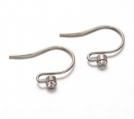19mm Stainless Steel Fish Hook Ear Wires with Rhinestone