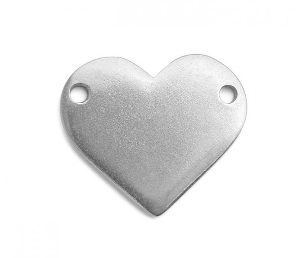 25mm Heart Stamping Blank Link, Pewter